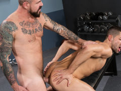 Appealing new inmate Kyle Kash just landed in jail, and stud Rocco Steele, who's been in a while, offers him the 'you take care of me, I'll take care of you' policy. When this guy sees the size of Rocco's cock, Kyle realizes he's found the perfect prison daddy gay porn
