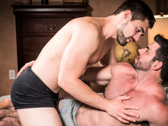 Muscular older gentleman Billy Santoro fucks gorgeous younger gentleman Griffin Barrows in a hot, clandestine fucking scene filled with kissing, rimming and foreplay culminating in double explosive cum shots and deep after-sex kissing. Wild and passionate daddy gay porn