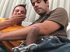 Two horny gay dudes get naked and fuck each other on couch
