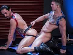 Mikoah Kan is down on hands and knees and untying Sebastian Kross' jock to reveal what hot, huge surprise lies underneath. After Mikoah unleashes the beast, Sebastian shoves his covert cock down Mikoah's windpipe without hesitation. The throat very comme daddy gay porn