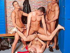 It's a locker room groupie when 4 athletes meet subsequently the game daddy gay porn