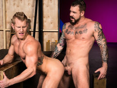 Tattooed muscle boy Rocco Steele locks lips with ginger-blond hunk Johnny V. Johnny touches Rocco's massive cock, then sinks to his knees to perform oral worship. Few chaps could manage Rocco's heavy girth and length, but Johnny shows off just how good h daddy gay porn