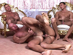 Horny Visconti brothers sharing some cute guy to fuck nicely