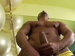 Sensual dude jerking his hard cock off at the gym and cum daddy gay porn