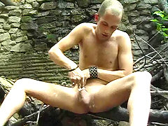 Cute stud enjoying shaving and stroking his cock in nature daddy gay porn