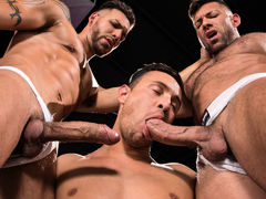 3 men stand in a black room, their white jockstraps barely containing their giant boners. FX Rios is tatted, pierced, and lean. Josh Conners is handsome, smooth, and muscled. Bruce Beckham is a unshaved bodybuilder with a macho attitude. After raw play wi daddy gay porn