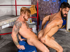 Hairy, ripped Adam Ramzi and buff ginger Bennett Anthony are on their lunch break, but the meat they want is between their legs! Bennett feeds his rock massive cock to Adam's willing mouth. Adam teases the tip with his tongue, then slides all the way down daddy gay porn