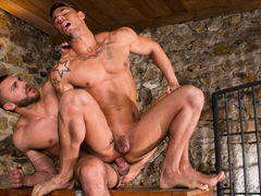 Big, beefy Emir Boscatto brings Sergyo Caruso down to the basement for some bawdy action. The basement looks get joy a medieval dungeon, with stone walls and a metal gate, and Emir is the taskmaster of this dungeon. Sergyo falls to his knees and services daddy gay porn