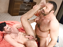 Manly buds Brad & Billy rub & grind their fur as one daddy gay porn
