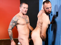 Max & Dustin are back in the locker room after their workout and Dustin tells Max that his muscles are sore. Max rubs his shoulders and tells him that working out always makes him horny! Since they are all alone in the locker room they decide to let loo daddy gay porn