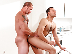 Matt eats out AJ's clammy ass before AJ begs Matt to fuck him