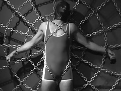 The Puppy has a raw prisoner. Puppy chains him to the spiderweb, and his cock is rock hard before he's fully secure. Unfortunately for the prisoner, Puppy doesn't plan to let him sex cream any time soon. Watch the prisoner writhe, beg, and moan. Stick