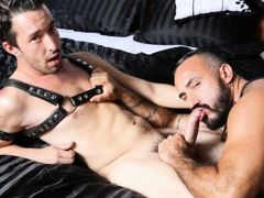 Isaac and Alessio are staying inside today for some role play action and Isaac is in the other room putting on some leather gear but he's not fee daddy gay porn