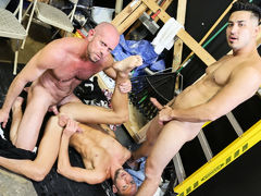 Dek and Hunter are on break but it's not your usual break they are on. They both have been so horny at work that they pulled out their dicks and are masturbating them. The boss isn't around and they really hope they don't get caught. It's a slow day on th daddy gay porn