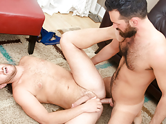 Rich's aching schlong obtains some of Lucas' tight hairy apple bottoms