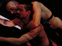 Justin Southhall works over Scott Samson in a down-n-nasty S&M scenario worthy of de Sade himself. Scott, in bondage among two pillars, moans like a good pliant submissive as he is spanked, whipped, spit-on and erotically tortured in any number of cre daddy gay porn